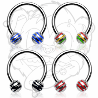 316L Surgical Steel Horse Shoe with Striped Balls