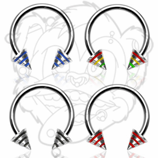 316L Surgical Steel Horse Shoe with Striped Spikes