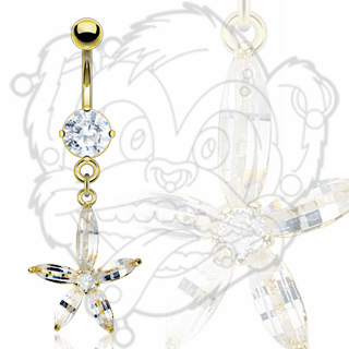 Gold Plated Navel with Clear Princess Cut Gem Flower Dangle