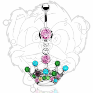 Multi Color Gem Crown Dangle Navel Ring