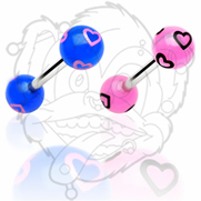 316L Barbell with Printed Multi Heart Balls