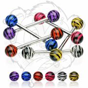316L Surgical Steel Barbell w/Tiger Print UV Balls