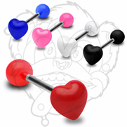 316L Surgical Steel 14g Barbell w/ UV Heart Top