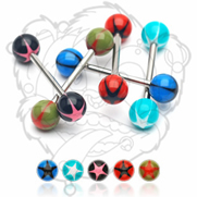 316L Surgical Stainless Steel Barbells with UV Star Balls