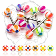 316L Surgical Stainless Steel Barbells with UV Square Cross Balls