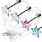 316L Surgical Steel Barbell with Paved-Gem Star Clear Epoxy surface to avoid any scratchs