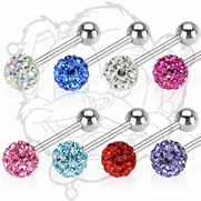 316L Surgical Steel Barbell with Swarovski Multi Crystal Ferido Ball Top