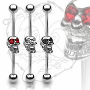 316L Industrial Barbell with Skull w/Gemmed Eyes