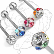 316L Stainless Steel Barbell w/Multi Crystal
