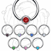 Captive Bead Ring with Gem ball