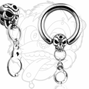 316L Surgical Stainless Steel CBR with Skull and Handcuff Dangle. New 16ga Added.