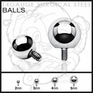 316L Surgical Steel Balls for Internally Threaded Dermal Anchors