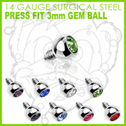 316L Internally Threaded Surgical Steel Press Fit Gem 3mm for Internally Threaded Dermal Anchors