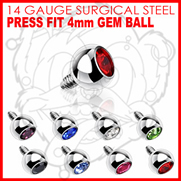 316L Internally Threaded Surgical Steel Press Fit Gem 4mm for Internally Threaded Dermal Anchors