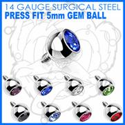 316L Internally Threaded Surgical Steel Press Fit Gem 5mm for Internally Threaded Dermal Anchors