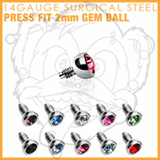 316L Internally Threaded Surgical Steel Press Fit Gem 2mm for Internally Threaded Dermal Anchors