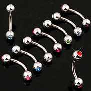 316L Surgical Steel Curved Barbell w/ Press Fit Gem Ball On Both Side