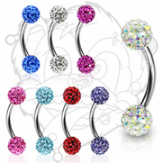 316L Surgical Steel Curve Eyebrow with 2 Swarovski Multi Crystal Ferido Balls