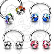 316L Surgical Steel Circular (Horseshoes) with 7-Gem Paved 6mm Balls