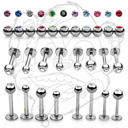 316L Surgical Stainless Steel Labrets and Monroes with Press Fit Gem Ball