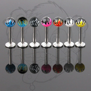 14G 3/8'' 316L surgical Stainless Steel Labret w/Flame Printed Ball