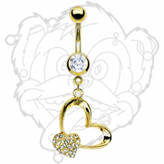 Gold Plated Navel with Gold Plated Gem Pave Heart and Heart