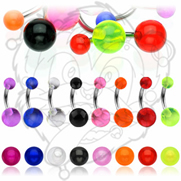 316L Surgical Stainless Steel Navel Rings with UV Balls
