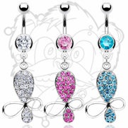 316L Surgical Steel CZ Navel with Gem Butterfly Dangle