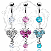 316L Prong Set Navel with Gem Butterfly and Single Solitare Dangle