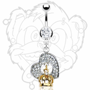 316L Surgical Steel Navel with Gem Paved Heart and Gold Plated Crown Dangle