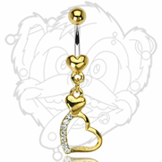 316L Surgical Steel Gold Plated Heart Navel with 2 Heart Gem Pave Dangle