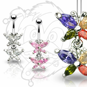 316L Surgical Steel Gem Butterfly Navel With Twin Gem Butterfly Dangle