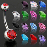 14g 316L Surgical Stainless Steel Double Jeweled Navel Rings