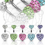 316L Surgical Steel CZ Navel with Gem Butterfly and Butterfly Dangle