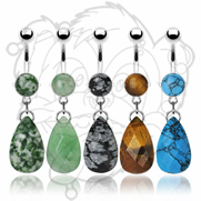 316L Surgical Steel Prong set Precious Stone Navel with Tear Drop Dangle
