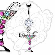 316L Prong Set Gem Navel with Multi Color Gemmed Martini Glass Dangle