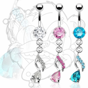 316L Surgical Steel Navel with Gem Paved Teardrop Music Note Dangle