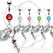 Navel Ring with Heart Lock & Key Dangle And CZ