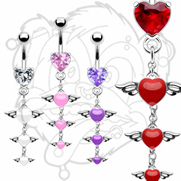316L Surgical Steel Prong Set Heart Navel With Triple Epoxy Angel Wing Heart Dangle