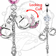316L Surgical Steel Prong Set Navel With Dangling Gem Handcuffs And Key