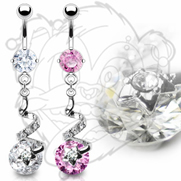 316L Surgical Steel Prong Set Navel With Gem Star Swirl And 10mm CZ Dangle