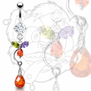 316L CZ Prong Set Navel With Multi-Color Flower And Tear Drop Dangle
