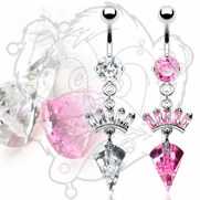 316L CZ Prong Set Navel with Gem Paved Crown and Sea Shell Drop Dangle