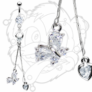 316L CZ Prong Set Navel With Prong Heart Loop And Gem Butterfly And Heart Dangle