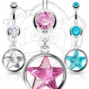 316L Surgical Steel Press Fit Navel With Loop 14mm Star CZ Dangle