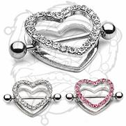 Gem Paved Heart Nipple Shield