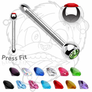 316L Surgical Stainless Steel 1/4'' Press Fit Nose Bone with Assorted Colored CZ's