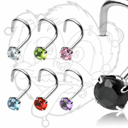 20GA 925 Sterling Silver Nose Screw with 3mm Round Prong Set Gem
